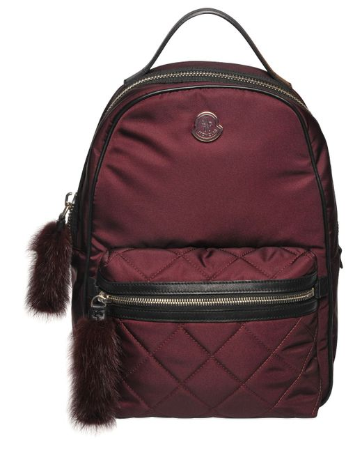 Moncler   Bordeaux Georgette Nylon Backpack W/ Mink Fur
