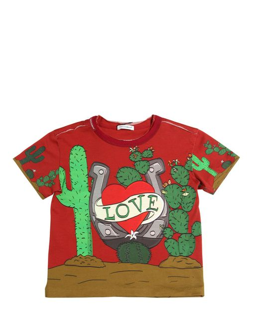 Dolce & Gabbana | Красный Love Printed Cotton Jersey T-Shirt