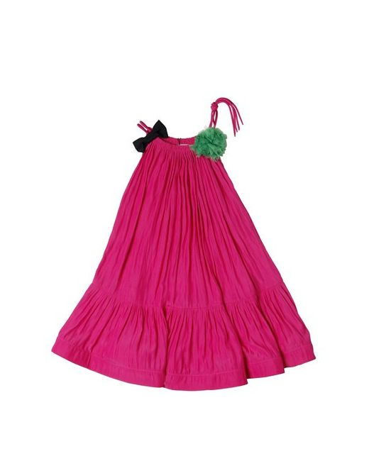 LANVIN PETITE   Fuchsia Charmeuse Party Dress With Bow Pompom
