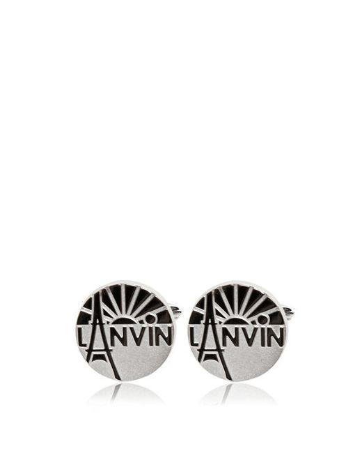 Lanvin   Серебристый Engraved Enameled Brass Cufflinks