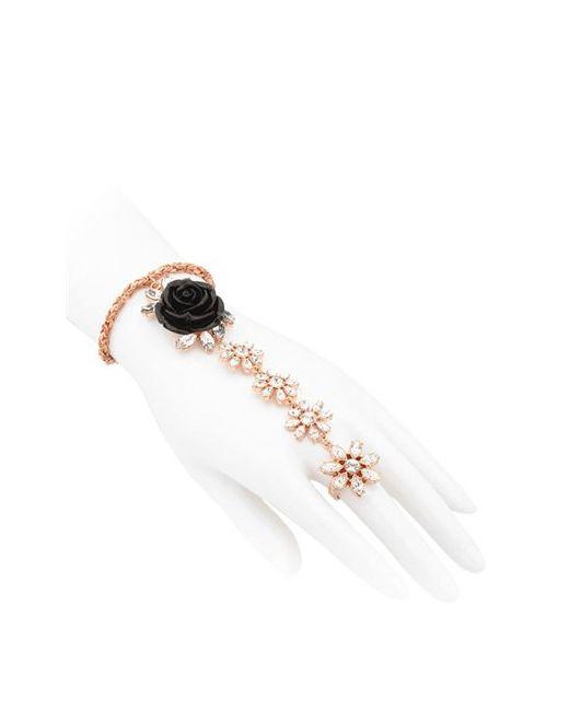 Mawi | Чёрный Rose Finger Chain Bracelet