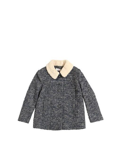 Nice Things Mini   Navy Woven Wool Coat W/ Faux Shearling Collar