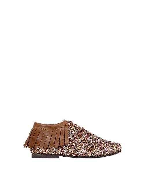 MANUELA DE JUAN | Многоцветный Glittered Leather Shoes W/ Fringe
