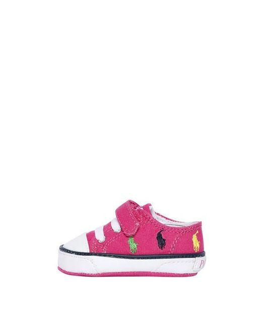 RALPH LAUREN CHILDRENSWEAR | Fuchsia Logo Embroidered Cotton Canvas Sneakers