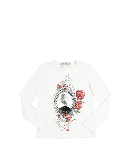 Miss Blumarine | Белый Embellished Cotton Jersey T-Shirt
