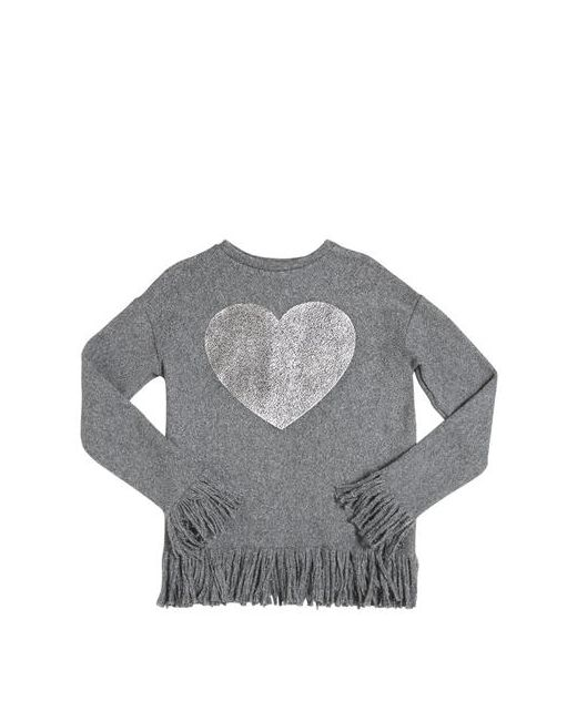 MISS GRANT | Серый Wool Blend Sweater W/ Heart And Fringe