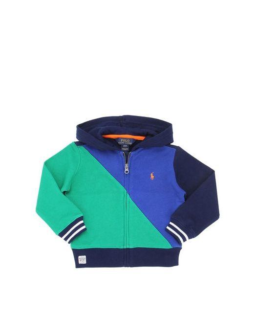 RALPH LAUREN CHILDRENSWEAR | Синий Color Blocked Hooded Cotton Sweatshirt
