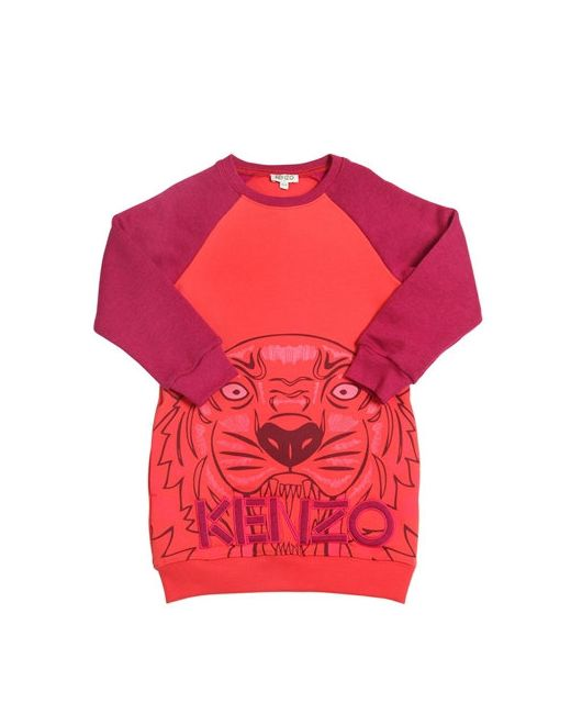 Kenzo Kids | Красный Tiger Printed Cotton Sweatshirt Dress
