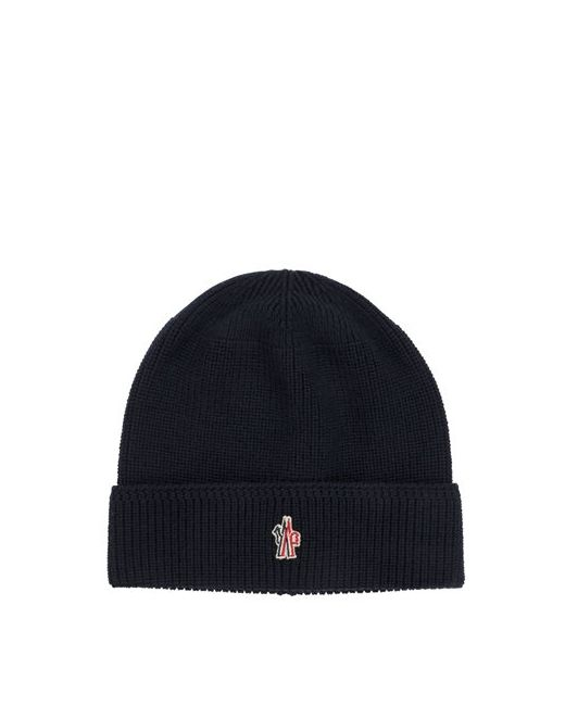 Moncler Grenoble | Navy Logo Patch Wool Beanie Hat