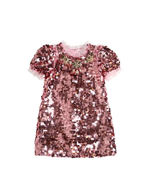 Dolce & Gabbana | Розовый Sequined Tulle Dress With Swarovski