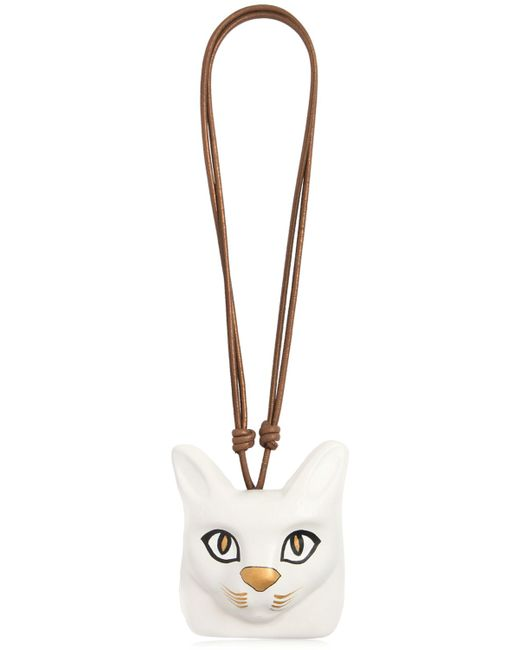 Loewe | Белый Hand-Painted Cat Face Leather Necklace