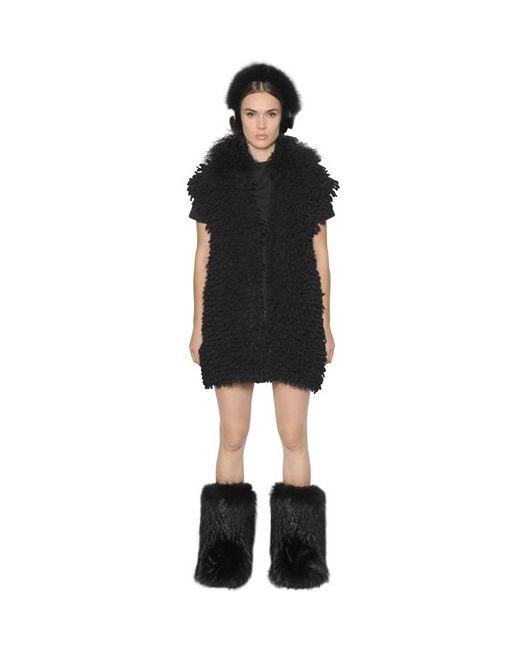 Fendi | Чёрный Mongolian Fur Alpaca Knit Vest