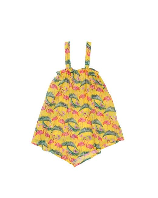Mc2 Saint Barth | Желтый Flamingo Print Cotton Muslin Cover-Up