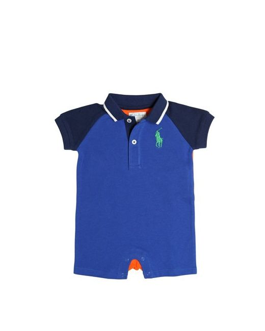 RALPH LAUREN CHILDRENSWEAR | Оранжевый Two Tone Cotton Piqué Polo Romper