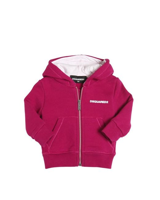 Dsquared2   Fuchsia Logo Hooded Zip-Up Cotton Sweatshirt