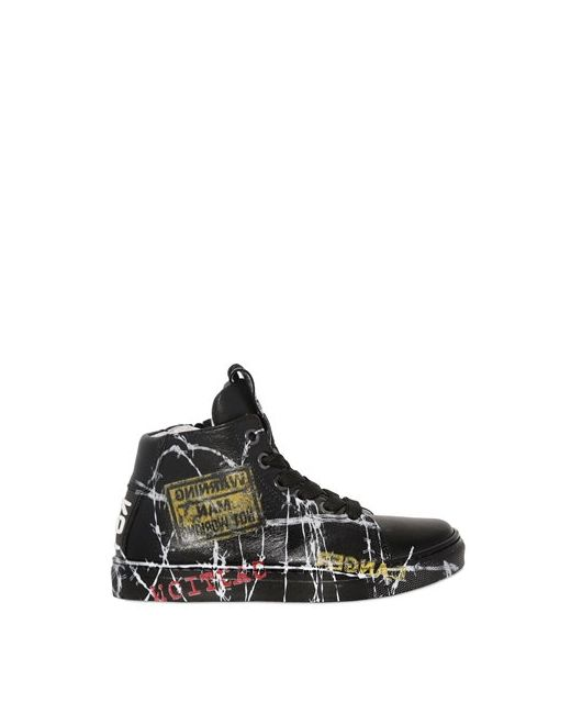 BE KOOL | Чёрный Barbed Wire Leather High Top Sneakers