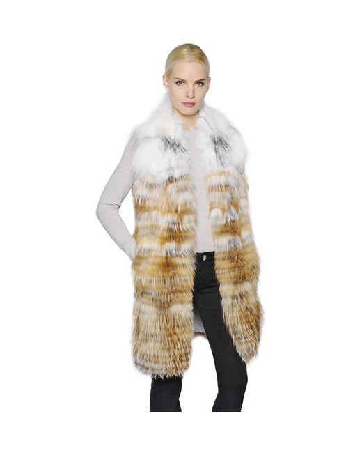 Yves Salomon   Белый Graident Fox Fur Vest