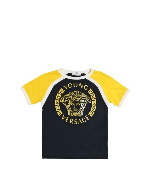 Young Versace | Желтый Logo Printed Cotton Jersey T-Shirt