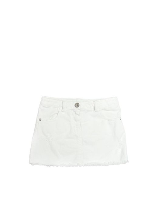 GAELLE PARIS | Белый Distressed Stretch Cotton Denim Skirt