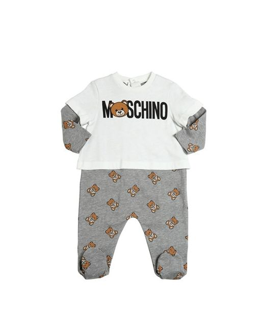 Moschino | Белый Teddy Bear Toy Cotton Fleece Romper