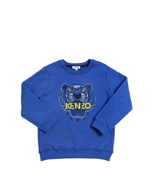 Kenzo Kids | Синий Embroidered Logo Patch Cotton Sweatshirt