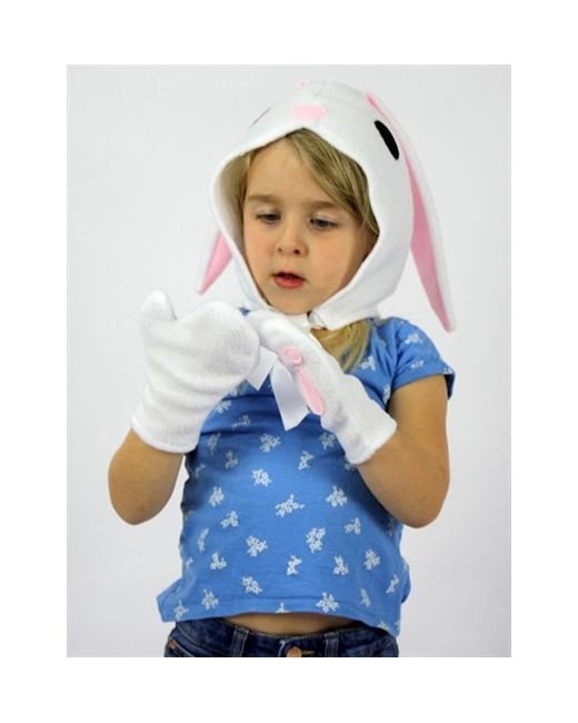SPARROW & B | Белый Bunny Felt Bonnet Gloves Costume Set