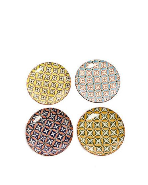 POLS POTTEN | Многоцветный Hippy Set Of 4 Ceramic Plates