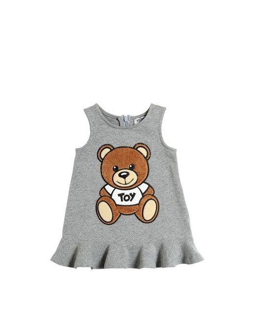 Moschino | Серый Teddy Bear Toy Cotton Sweatshirt Dress