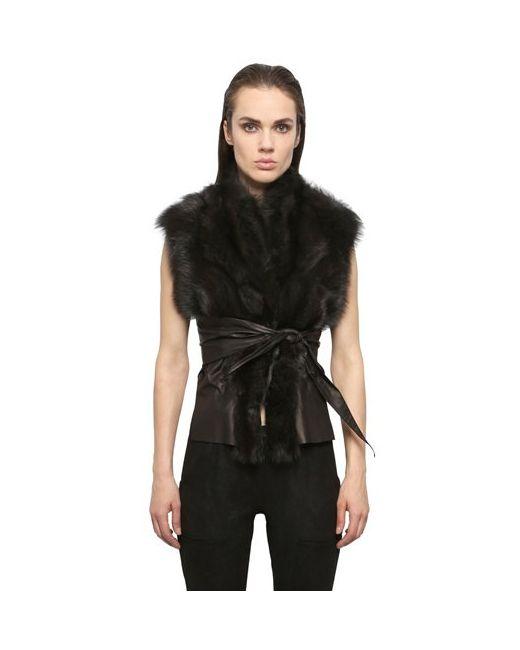 RICK OWENS HUN   Dark Shadow Kangaroo Leather Fisher Fur Wrap