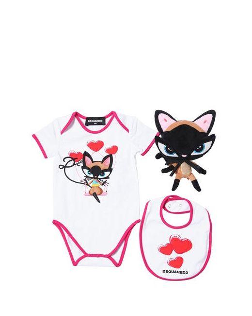 Dsquared2 | Белый Cat Cotton Jersey Bodysuit Bib Toy