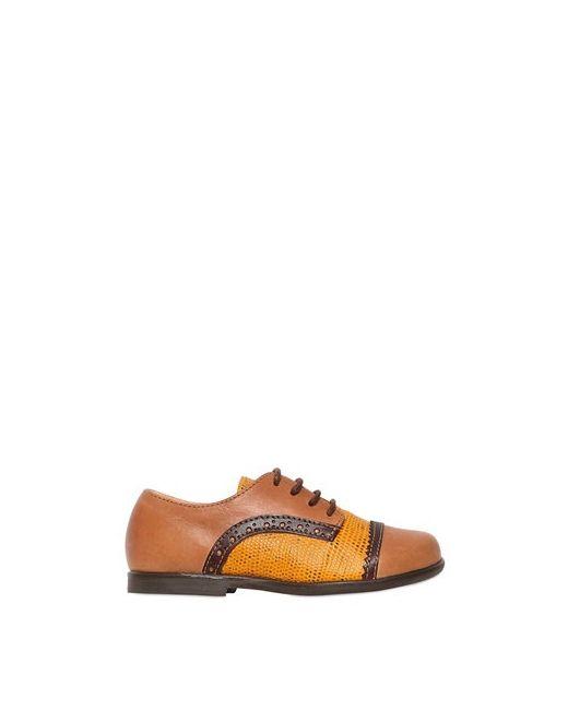 Ocra | Коричневый Leather Derby Lace-Up Shoes