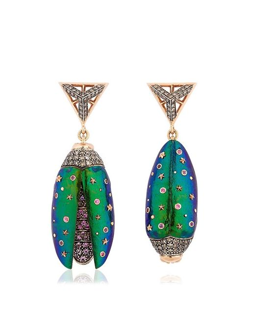 Bibi Van Der Velden | Золотой Scarab Drop Earrings