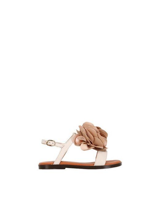 LANVIN PETITE | Cream Leather Silk Sandals