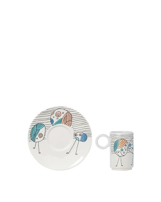 L'ABITARE   Белый Vain Peacocks Espresso Cup Set
