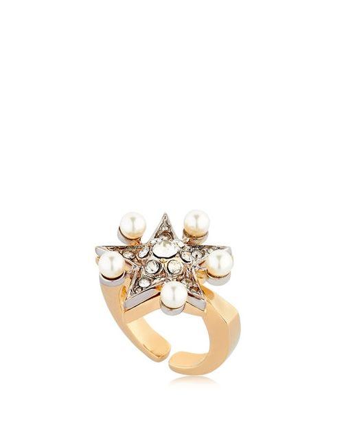 Schield   Золотой Star Line Ring W/ Swarovski Crystals