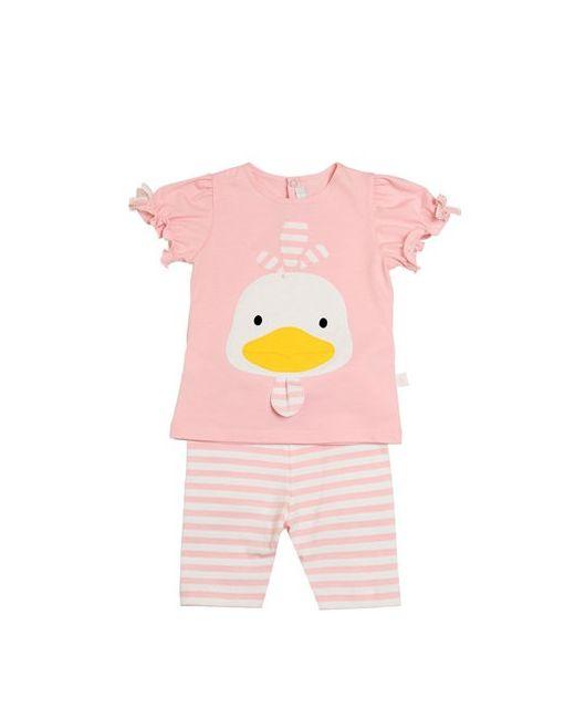 Il Gufo   Розовый Duckling Cotton Jersey T-Shirt Pants
