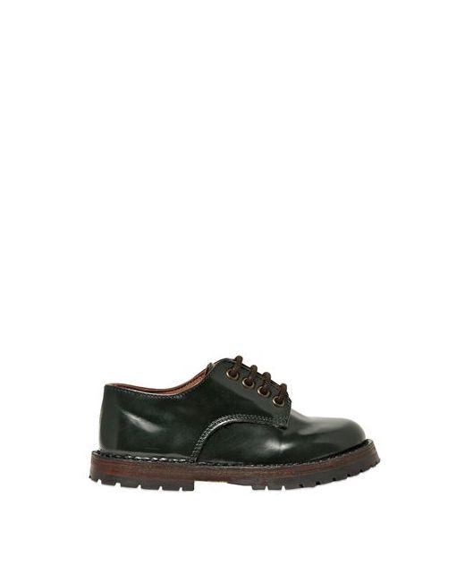 Pèpè | Зелёный Brushed Leather Derby Lace-Up Shoes