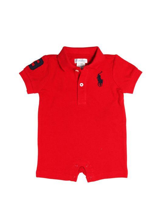 RALPH LAUREN CHILDRENSWEAR | Красный Big Pony Cotton Piqué Polo Romper