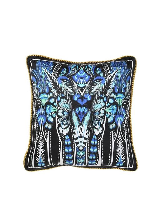 Roberto Cavalli   Синий Plumes Collection Decorative Silk Pillow