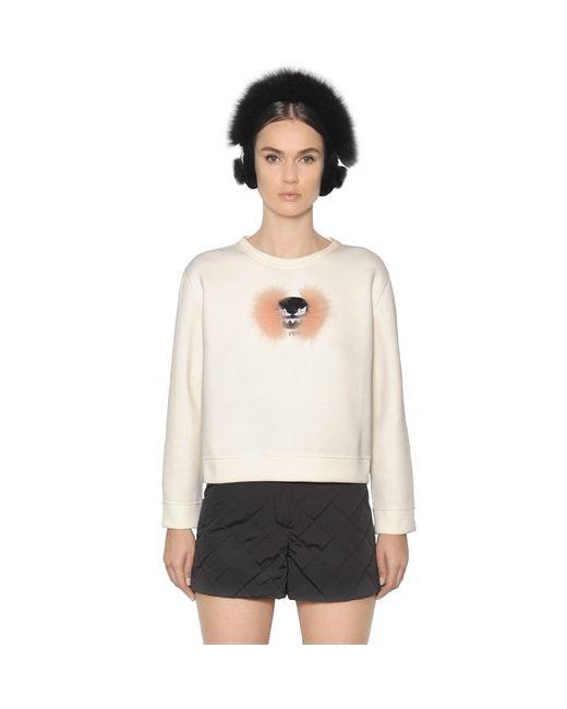 Fendi | Белый Fox Fur Monster Jersey Sweatshirt