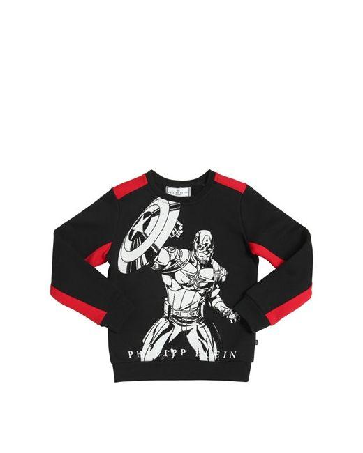 PHILIPP PLEIN JUNIOR | Чёрный Superhero Embellished Cotton Sweatshirt