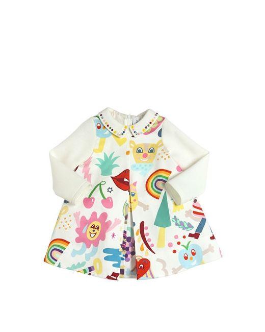 Simonetta   Белый Rainbow Print Cotton Satin Dress