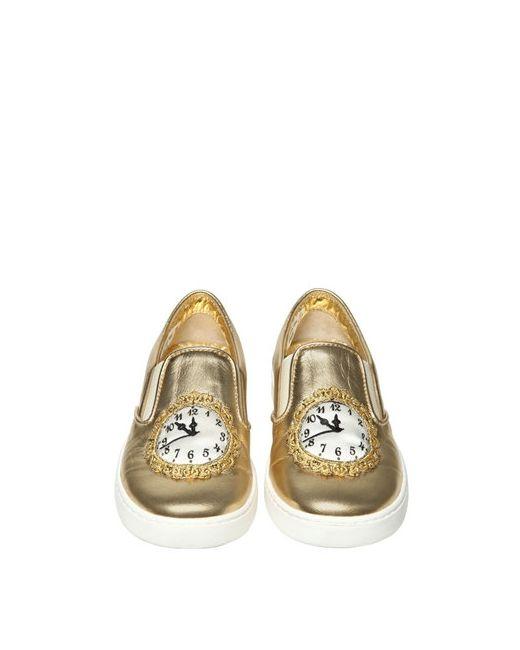 Dolce & Gabbana   Золотой Clock Nappa Leather Slip-On Sneakers