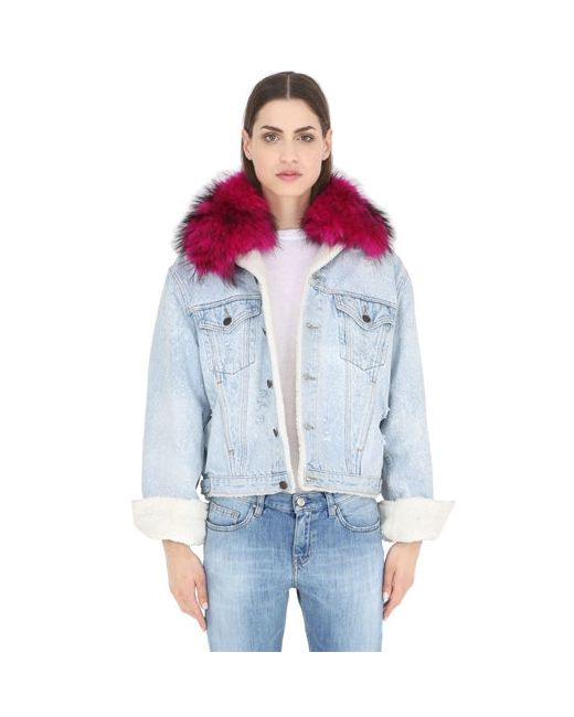 FORTE COUTURE | Синий Le Bon Winter Fuchsia Fur Denim Jacket