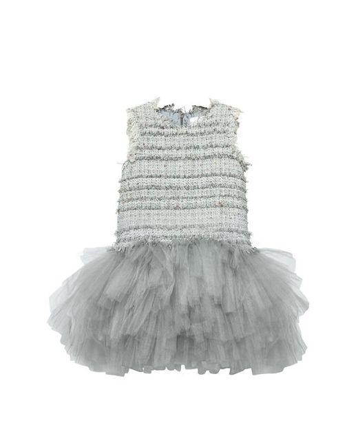 MISCHKA AOKI | Серый Tweed Soft Stretch Tulle Party Dress