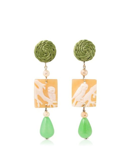 ANNA E ALEX | Зелёный Owl Cameo Earrings
