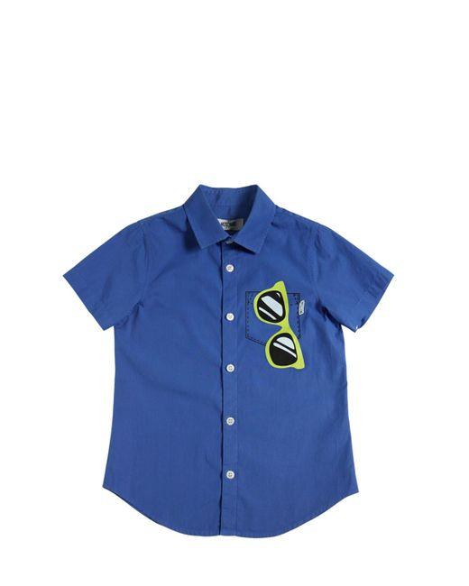 Moschino | Синий Sunglasses Printed Cotton Poplin Shirt