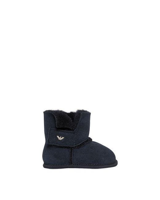 Armani Junior | Navy Suede Faux Fur Boots