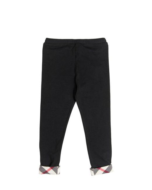 Burberry   Чёрный Cotton Jersey Legging With Check Cuffs