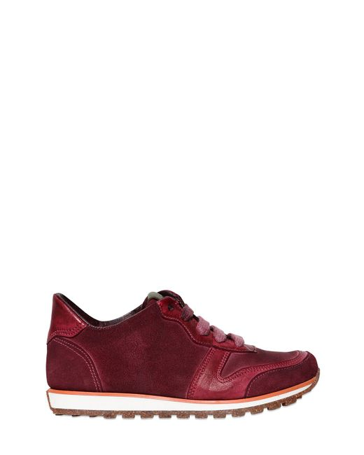 CARTA VETRATA | Bordeaux Leather And Suede Running Sneakers